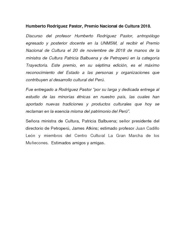 Humberto Rodríguez Pastor, Premio Nacional de Cultura 2018 [Discurso]